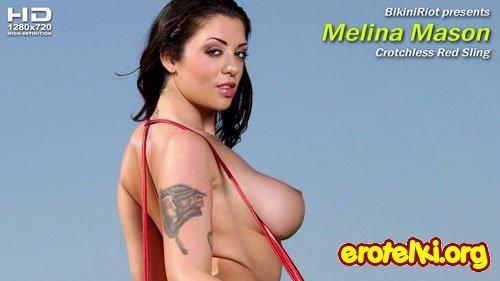 "Melina Mason ""Crotchless Red Sling"""