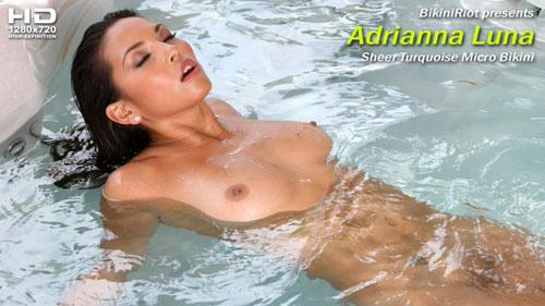 "Adrianna Luna ""Sheer Turquoise Micro Bikini"""