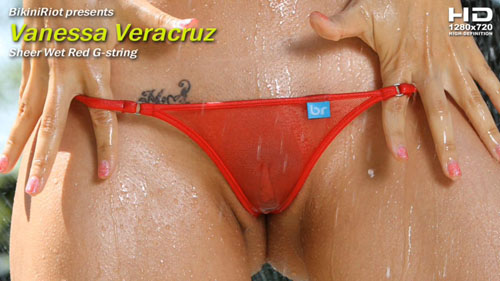 "Vanessa Veracruz ""Sheer Wet Red G-String"""