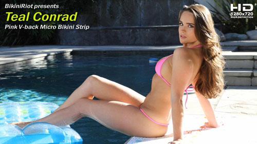 "Teal Conrad ""Pink V-back Micro Bikini"""