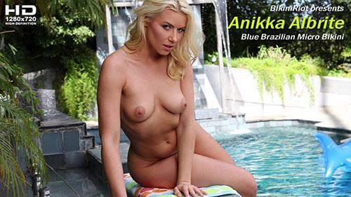 "Anikka Albrite ""Blue Brazilian Micro Bikini"""