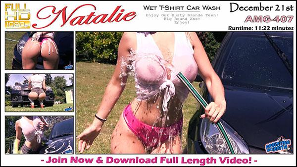 """AMG-407. Natalie """"Wet T-Shirt Car Wash"""""""