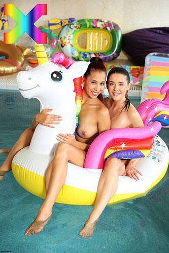 "Sybil & Paula Shy ""Unicorn Pool Hot Sex"""
